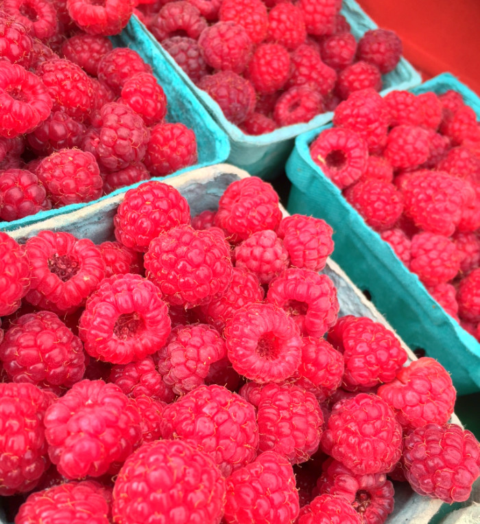 Raspberries are here! We also have lots of strawberries + red and white currants from SpringRain Farm and Orchard. There is always something new at market. Come see what it is this week.
