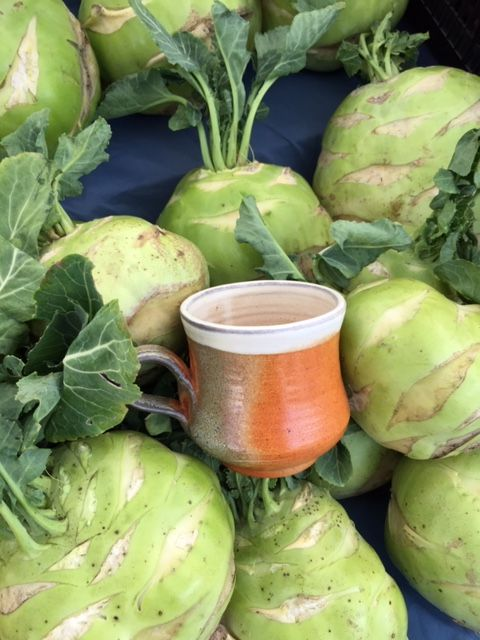 Center Valley Pottery cup and cancer fighting kohlrabi.