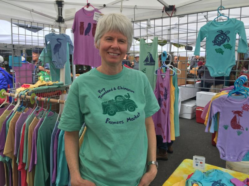 Townsend Toad Kidswear at the Port Townsend Saturday Farmers Market. Visit Me'l to custom order our 2019 farmers market shirt. We have kids' sizes for sale at the market info booth.