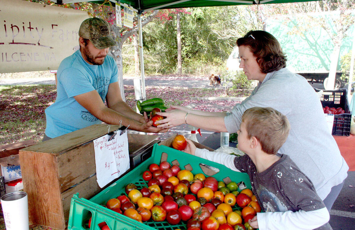 Jaric Jahns, left, a produce partner at Serendipity Farm in Quilcene, helps customers Emily Allen and her two sons, Bram Genaw, 6, and Toby Genaw, 3, at the Port Townsend Farmers Market on Wednesday. (Brian McLean/Peninsula Daily News)