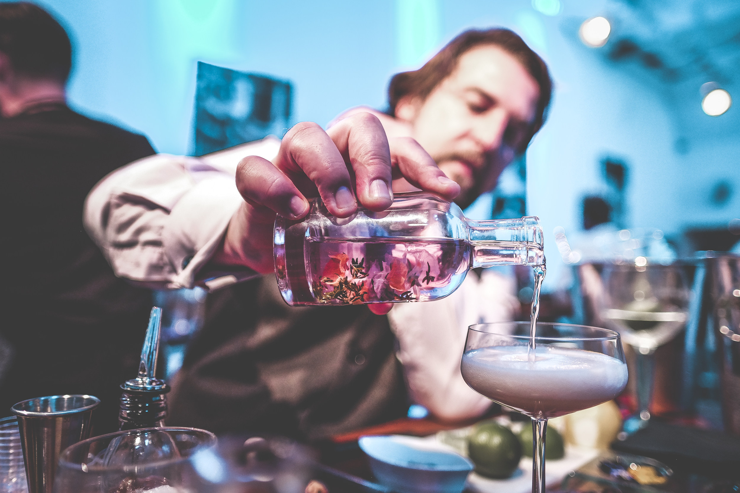 The ingenious Dav Eames preparing one of his mind bending concepts on a contemporary Gin and Tonic, and yes that's elderflower going into the mix!Sadly the image doesn't do the taste any justice, It was like pure summer in a glass!