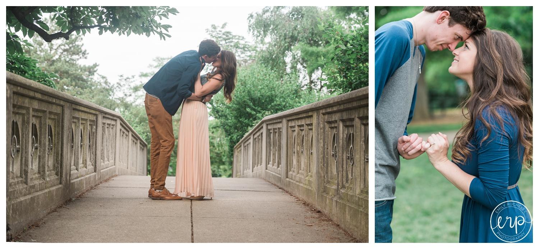 Couple kissing on a bridge in Cincinnati, Ohio