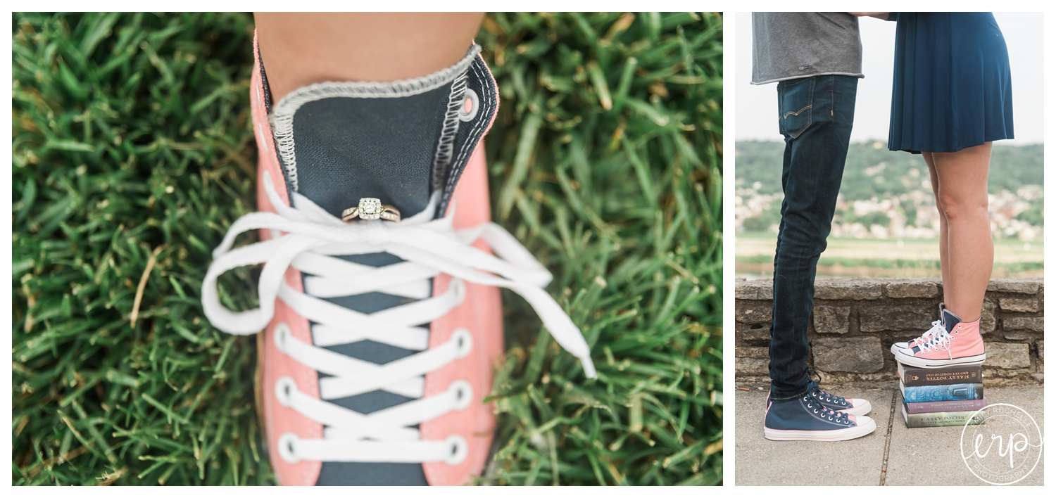 Engagement ring in chucks shoes.