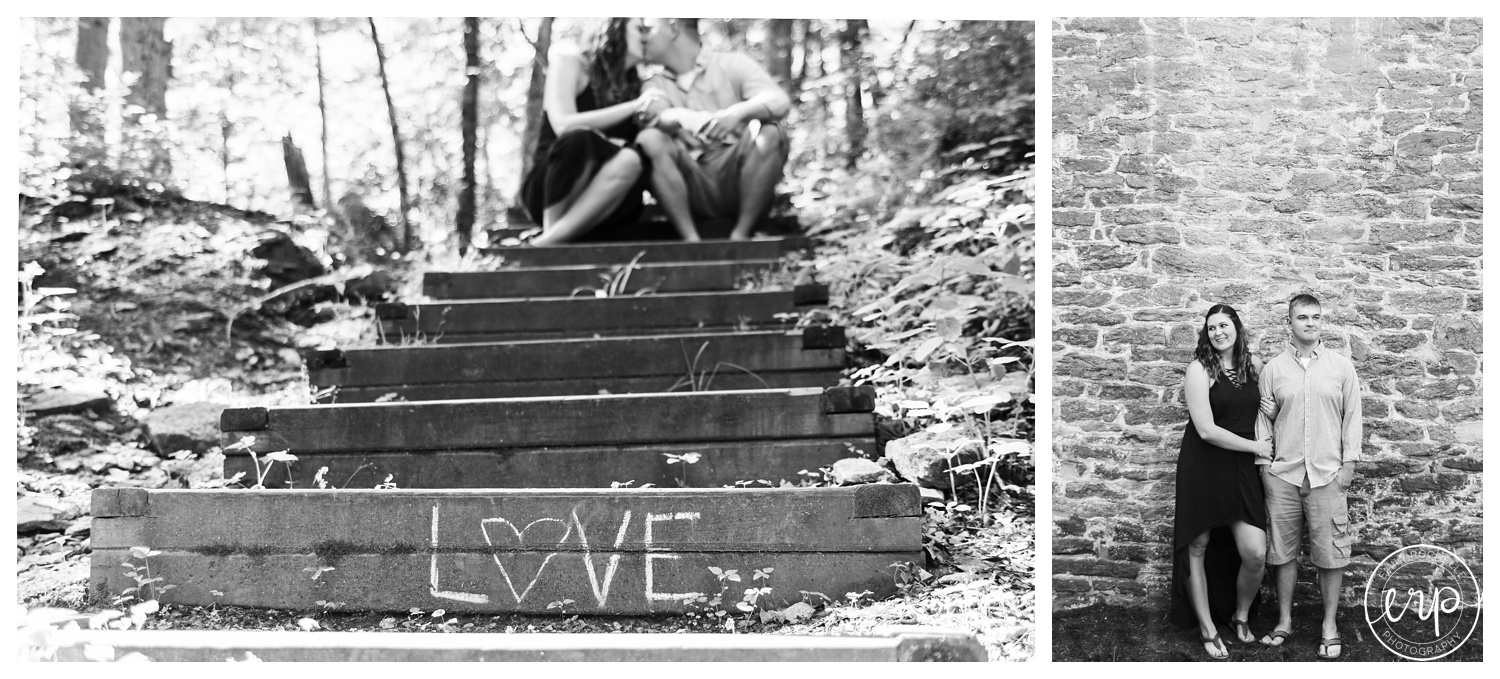 Couple kissing on steps that say love.