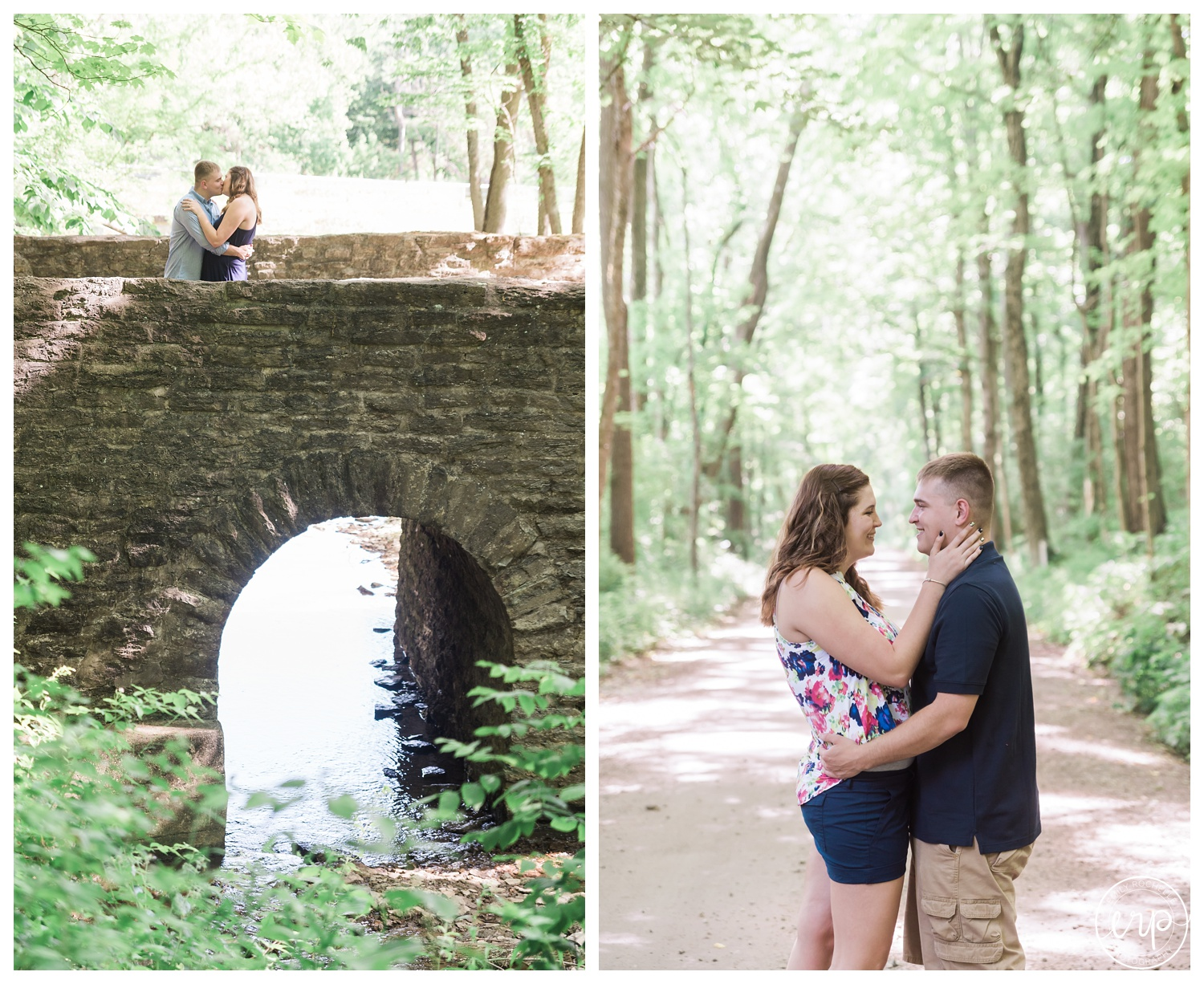 Engaged couple kissing on bridge at a park.