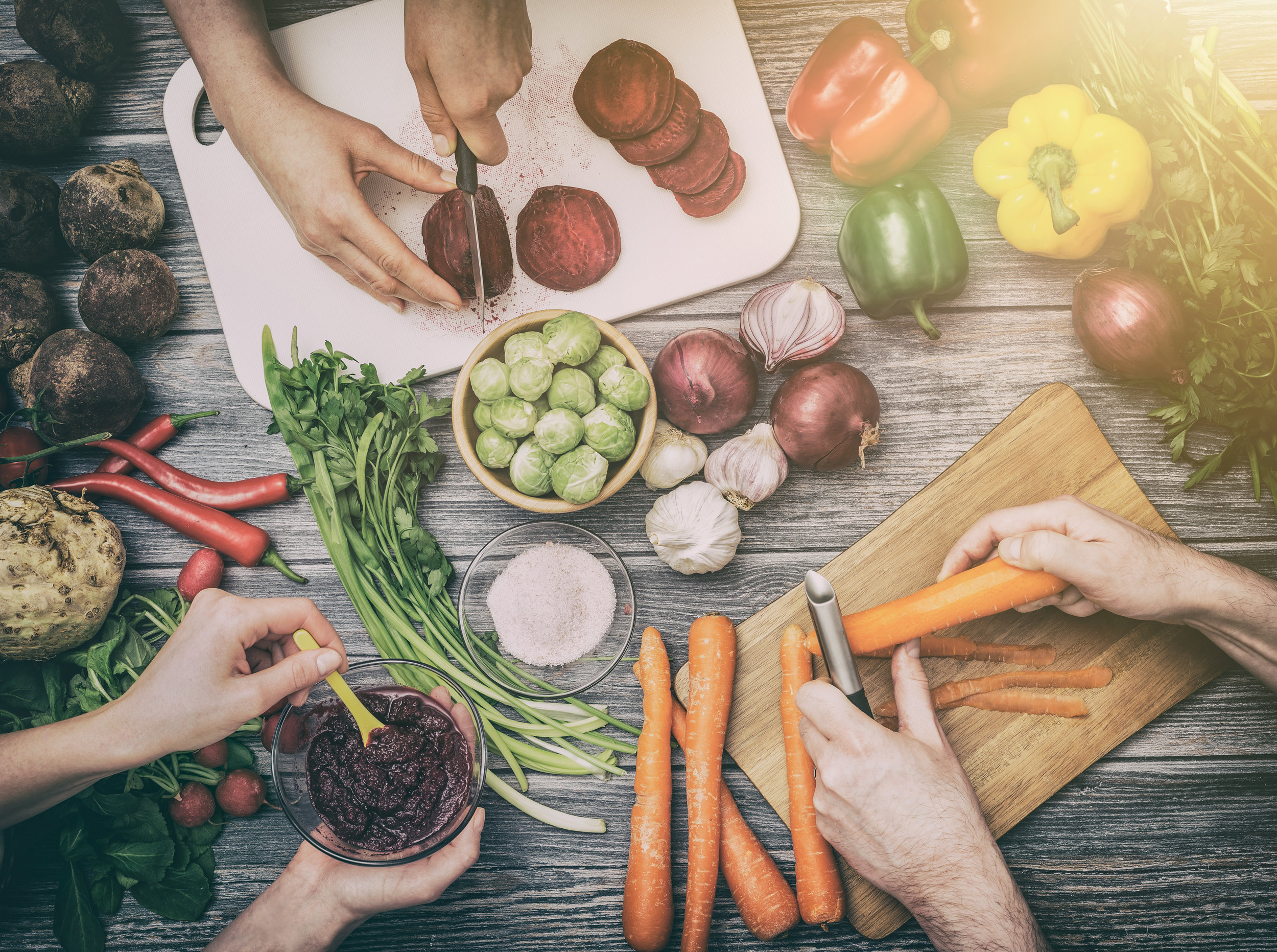 Preparing vegetables for a meal.