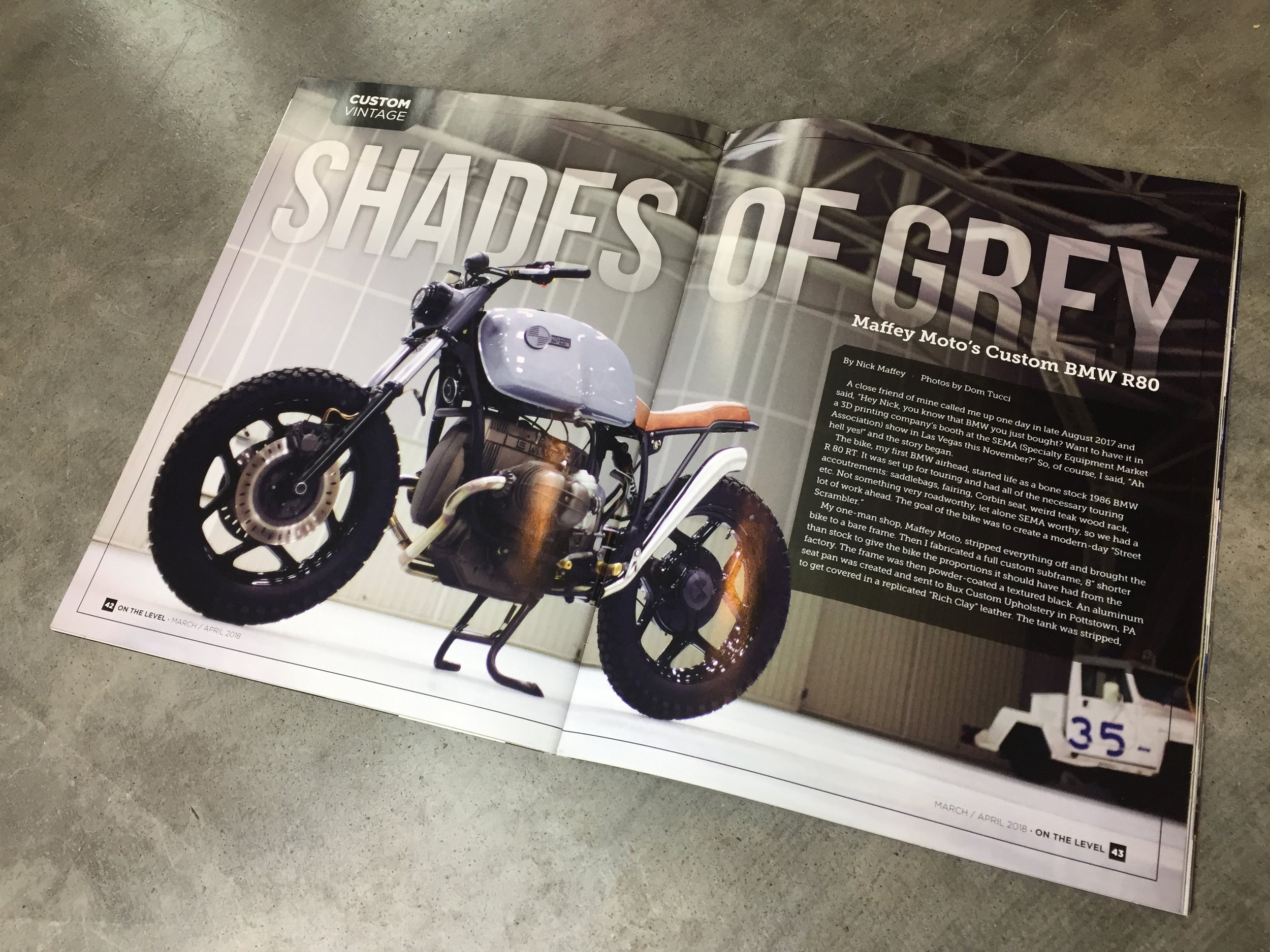 On The Level Magazine Feature Article March/ April 2018 Issue - Full four page article featuring the R80 BMW build and detailing its build process.