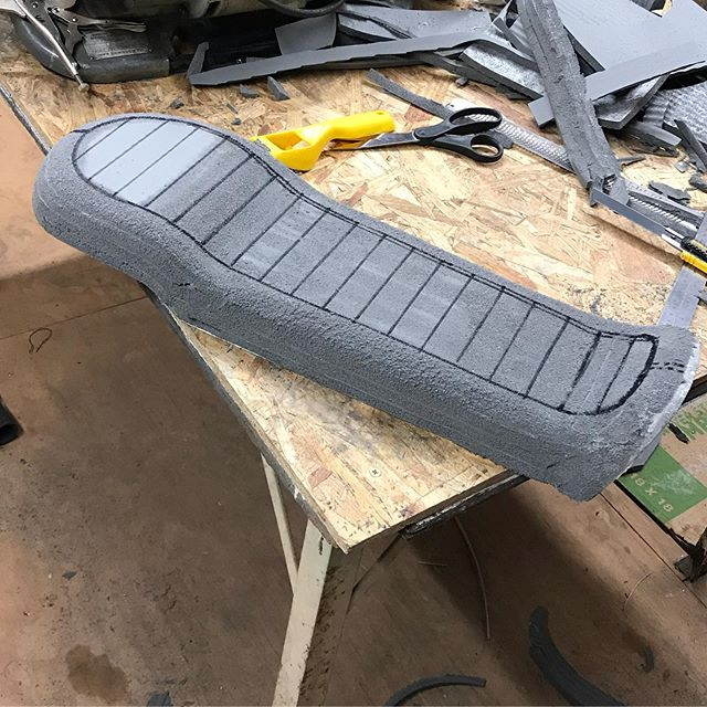 Seat foam is shaped for my CL350. Ready to get wrapped in @relicateleather #maffeymoto #design #make #ride #honda #hondacl350 #cl350scrambler #upholstery #leather #custommotorcycle #customseat