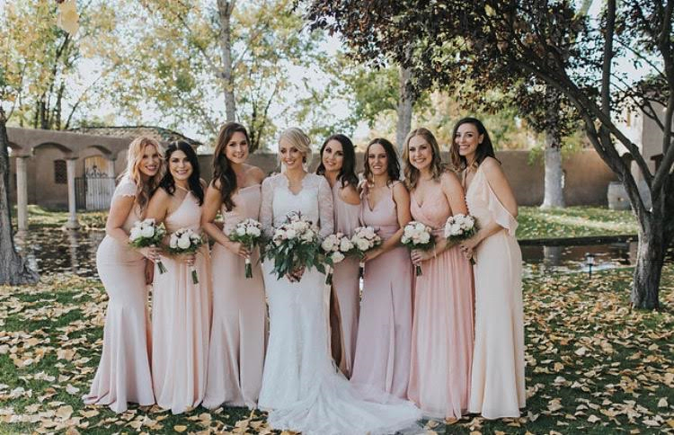 New Mexico fall wedding, bridal and bridal party makeup