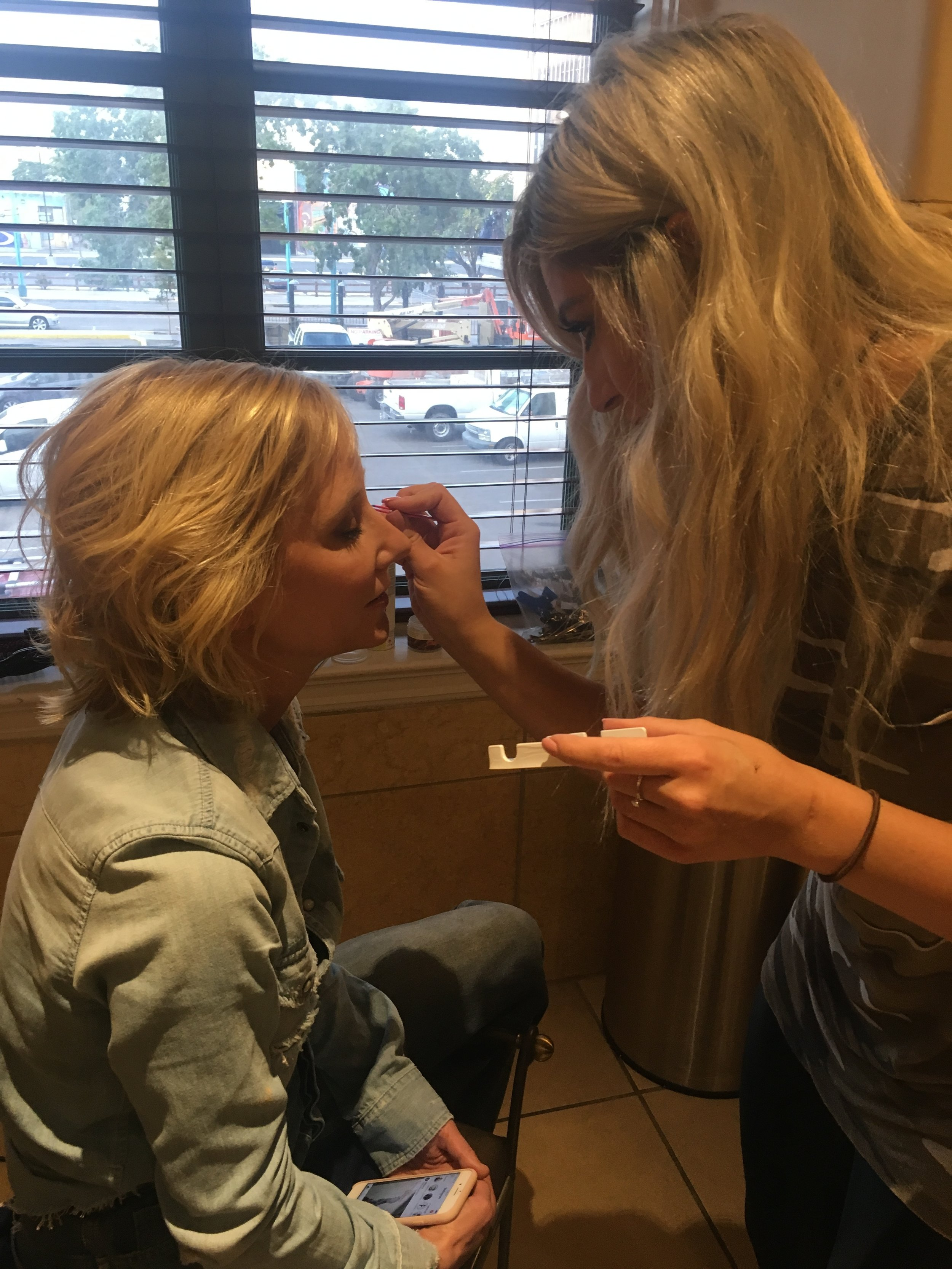 Betty Rose makeup artist Alanna Garcia applying makeup to celebrity Anne Heche Makeup