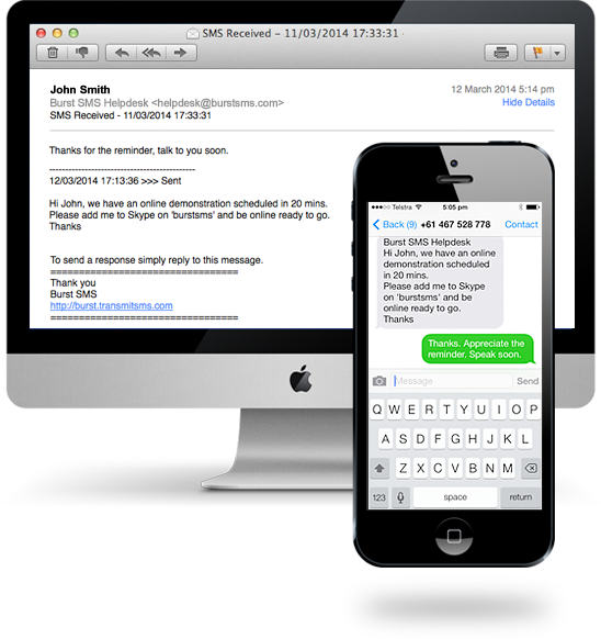 Send and receive SMS through your email — Burst SMS