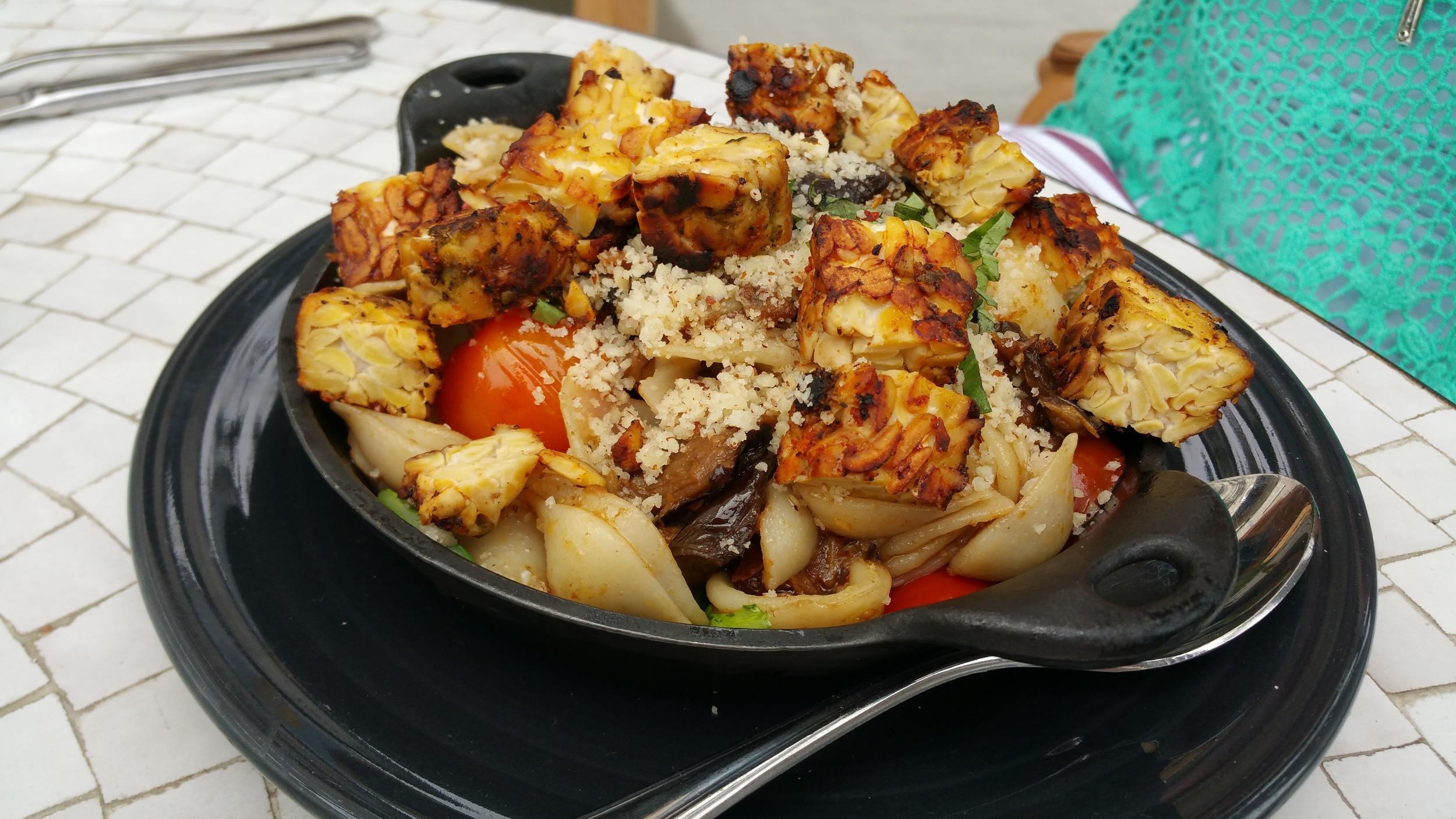 I Am Bountiful: Quinoa Pasta, Cherry Tomatoes, Eggplant, Fresh Basil with Charred Tempeh