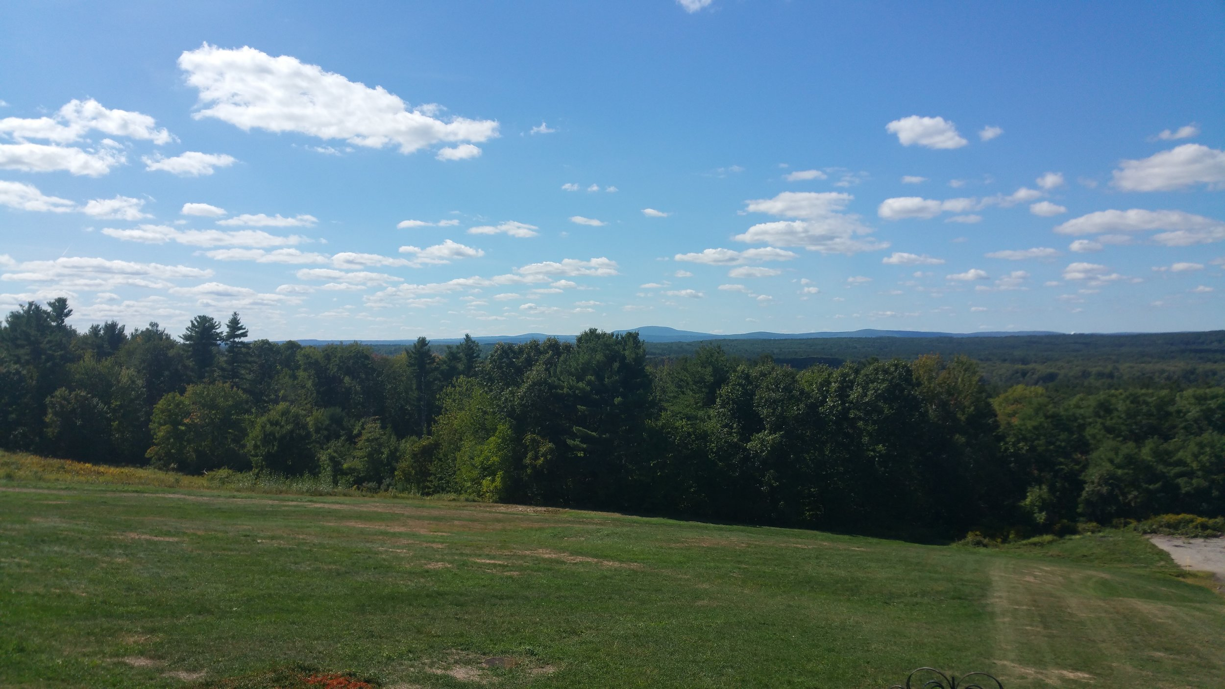 The view from the cafe. Mount Wachusett in the distance. The original farmhouse is to the right, down the hill.