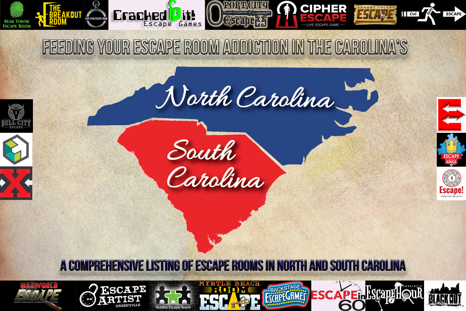 Header image of North and South Carolina escape room logos over the states of NC and SC
