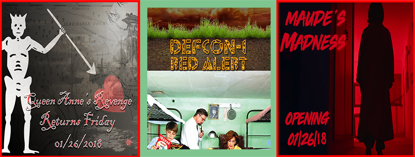 Queen Anne's Revenge, DEFCON-1: Red Alert, Maude's Madness. Current Escape Rooms at Cracked it! Escape Games. An Escape Room and Virtual Reality company in Jacksonville, North Carolina.
