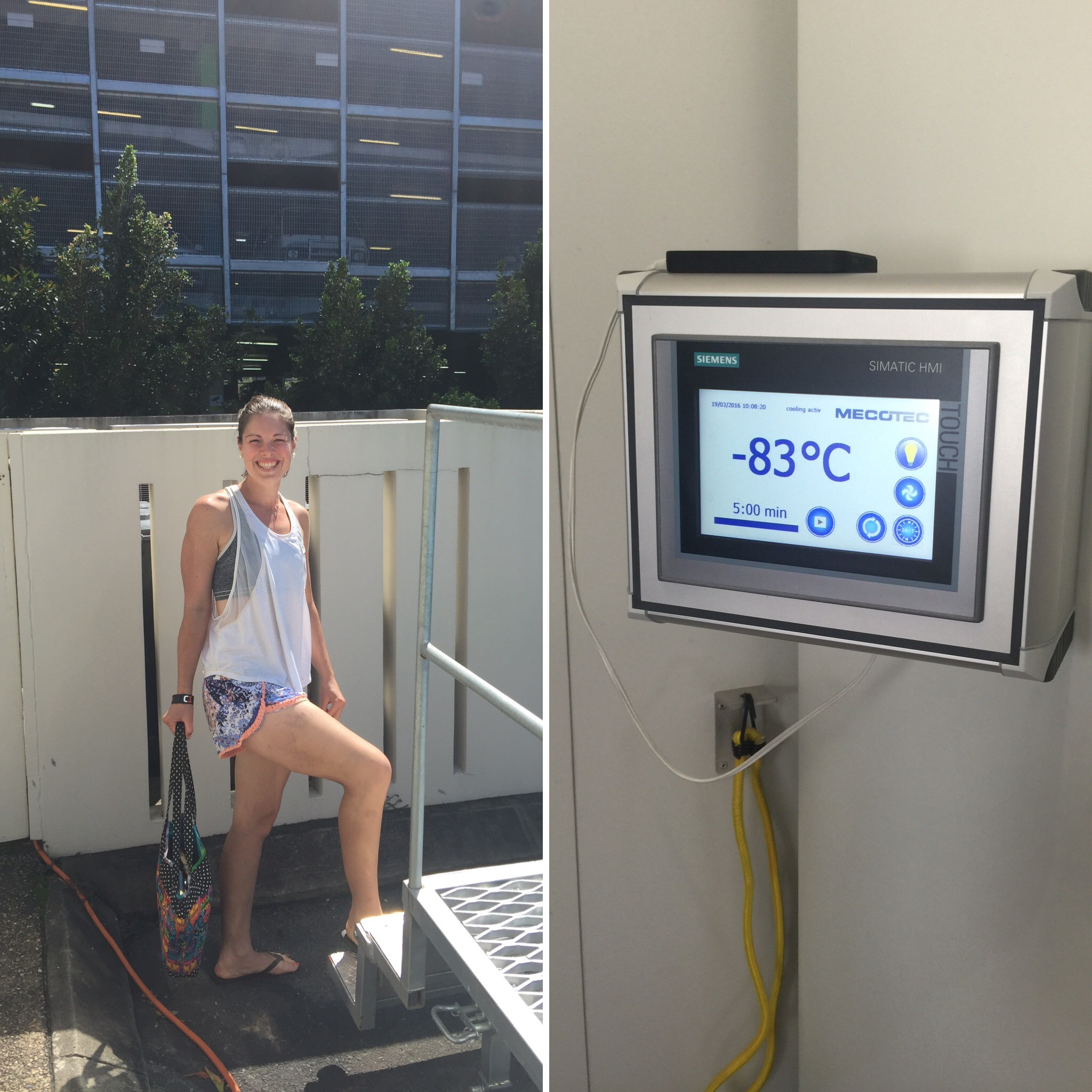 Mel going into the cryotherapy building