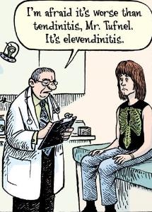 Dr telling patient a tendonitis joke.