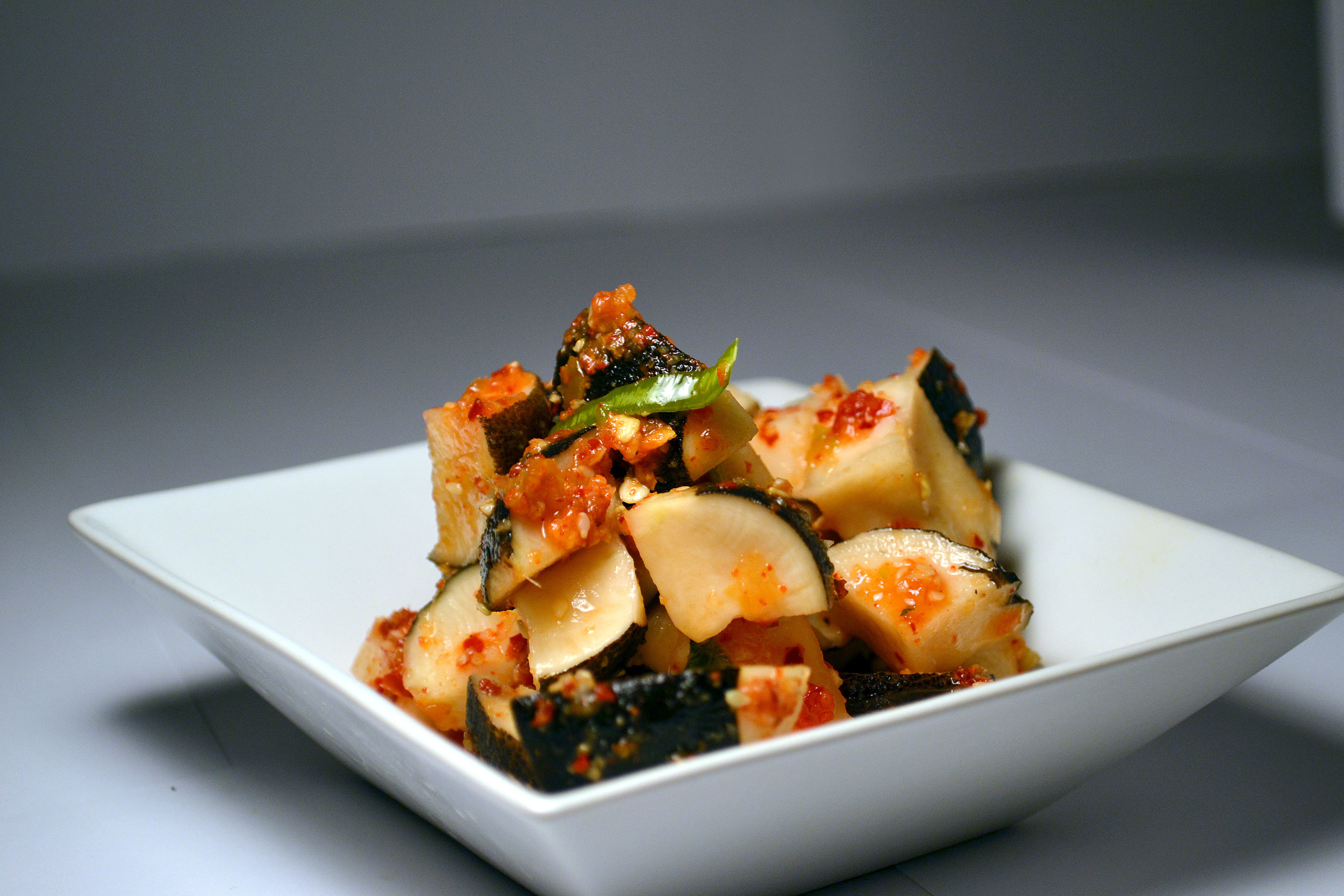SPANISH RADISH KIMCHI: The Spanish Black Radish is one of the healthiest radishes out there. Most effective in digestive aid and fighting against the common cold, in Kimchi form it is quite the body booster!