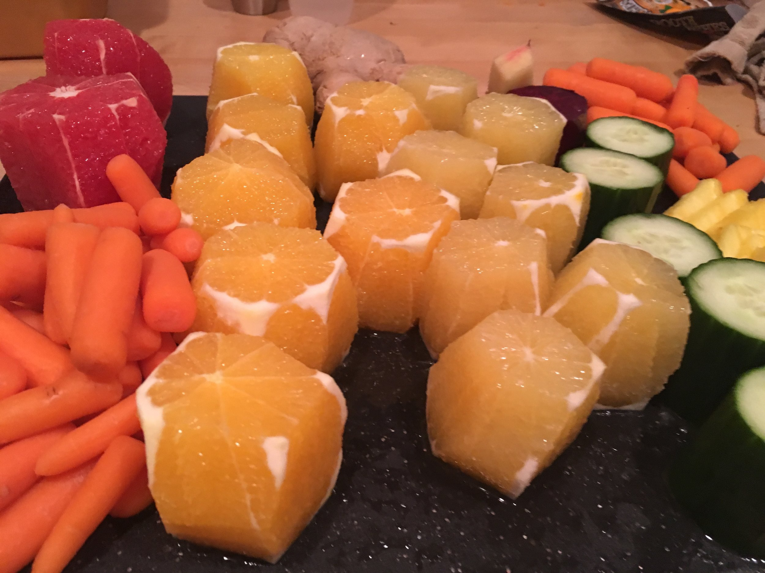 My attempt to avoid the sickness Sunday night - Juicing is fun and messy!