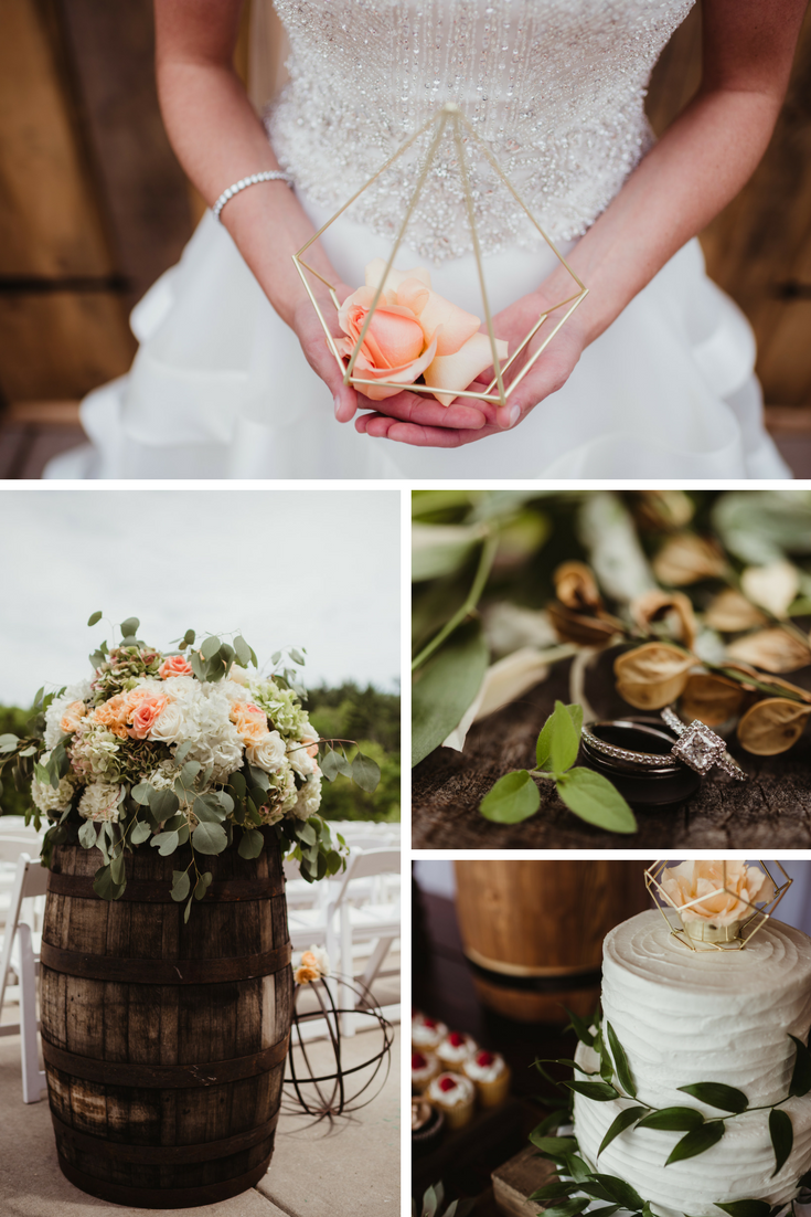 Sage green, peach, and gold rustic wedding, Engagement ring, Wedding cake, Foral Design, Wedding Details
