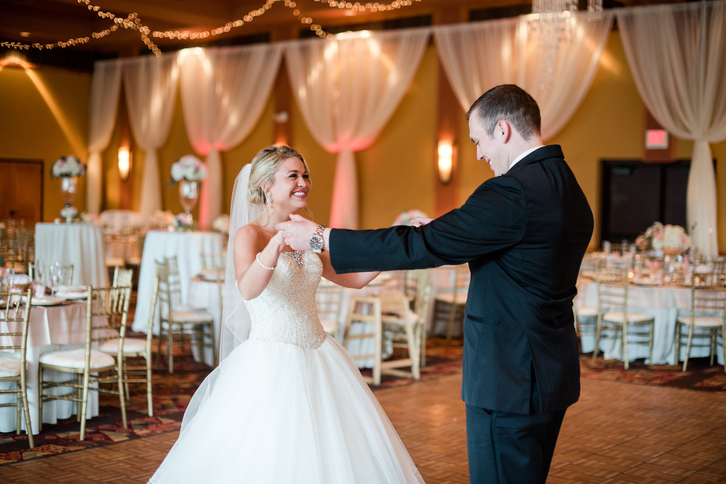 Allie &Tyler Sherron - That one time the entire ballroom was cleared so that these two love birds could slow dance before their guests came in..and then quickly sneak out to do photos...Time definetly sat still.Photo: Tara Draper Photography