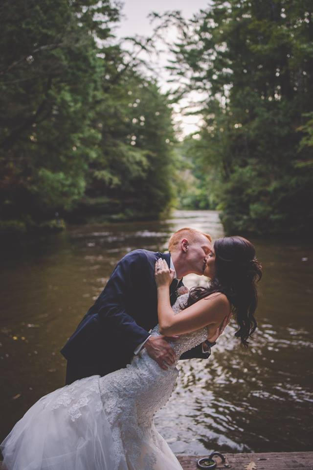 Abi & Aaron - There's nothing quite like a romantic dip and kiss.Photo: East Elm Photography