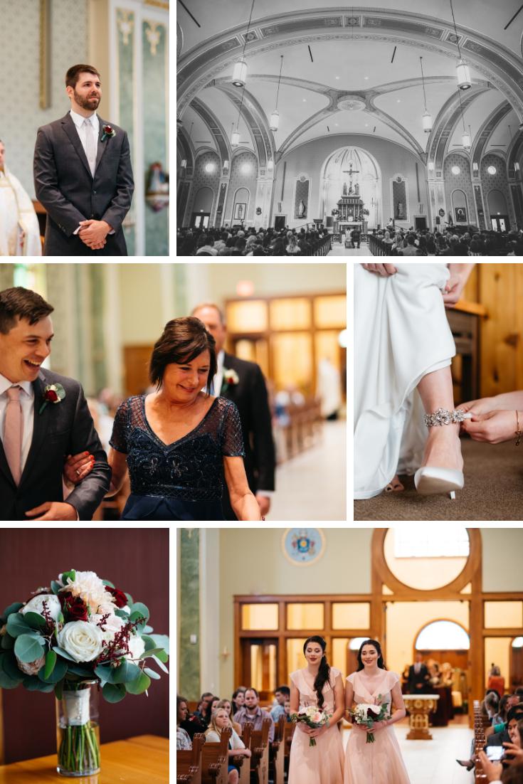 Neira Event Group Wisconsin Dells Catholic Wedding Family Flowers Bridesmaids