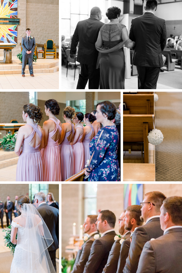 Neira Event Group St. Matthews Catholic Church Wedding First Look Traditional Wedding Ceremony Wisconsin Dells WI