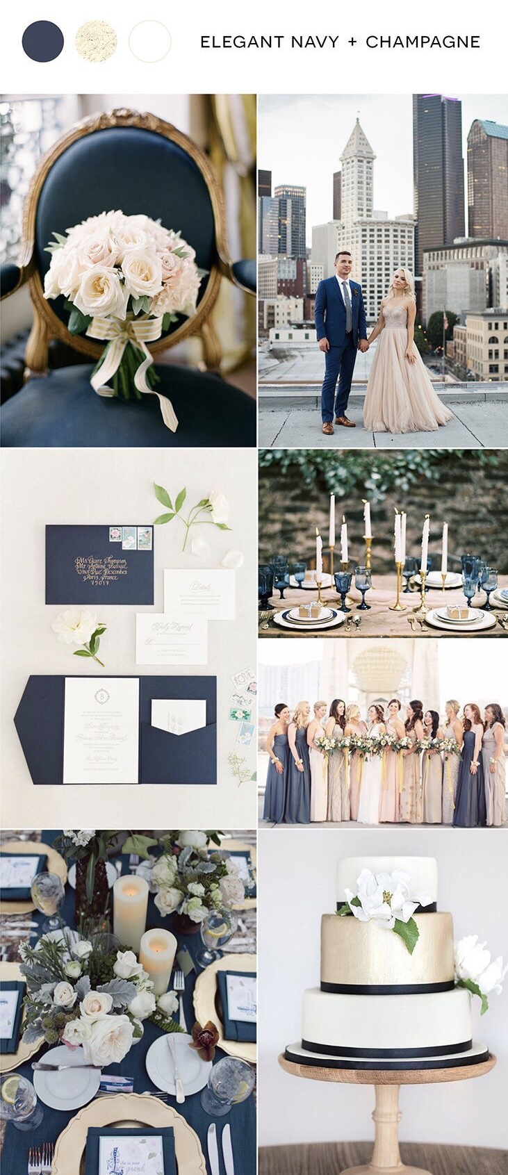 Elegant Navy and Champagne Neira Event Group Wisconsin Wedding Planner  Wisconsin Winter Wedding Wisconsin Summer Wedding Wisconsin Spring Wedding Wisconsin Wedding Colors