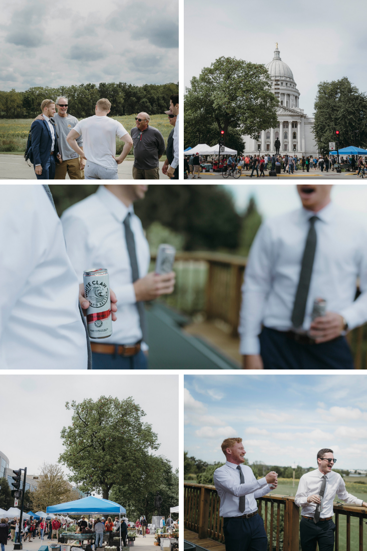 Neira Event Group Madison WI Wisconsin Wedding Planner Groomsmen White Claw Wisconsin Madison WI Farmers Market Wisconsin Wedding