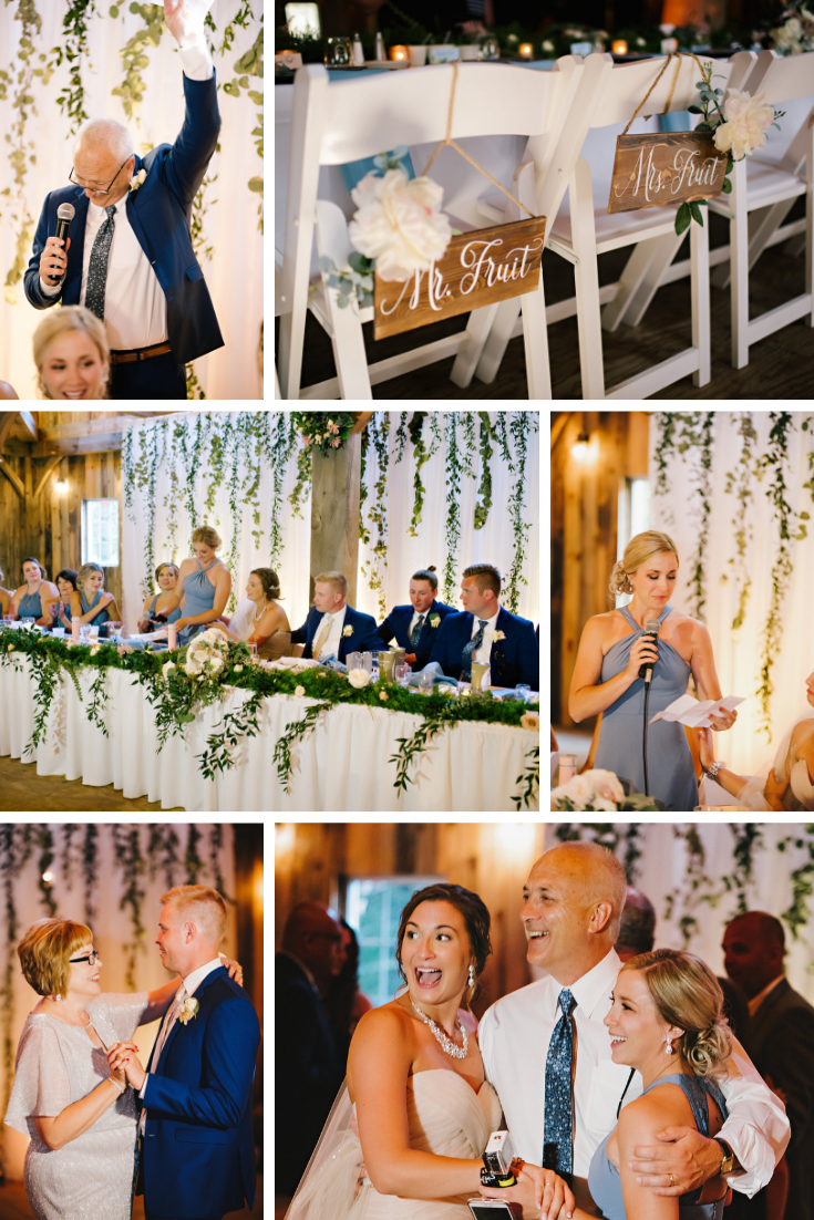 Wisconsin Dells Swan Barn Door Wedding Reception