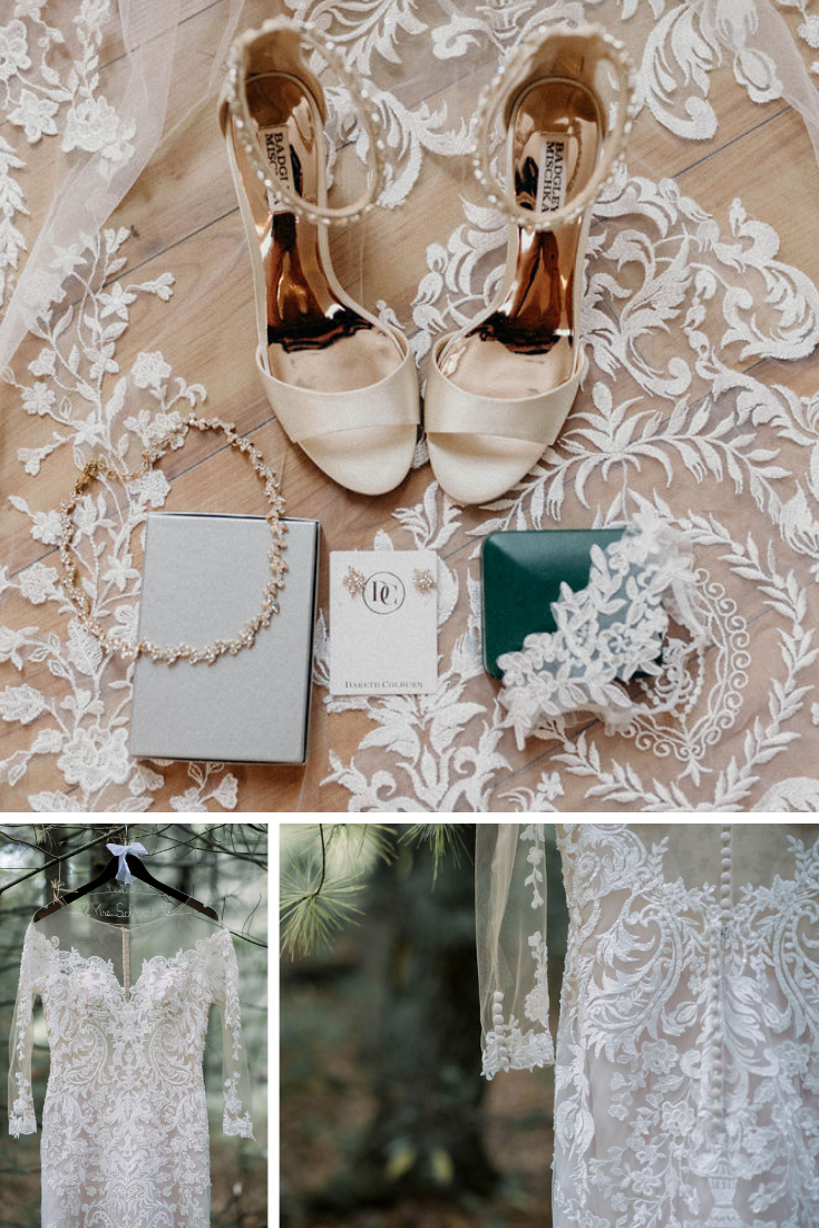 Wisconsin Dells bride accessories and dress details