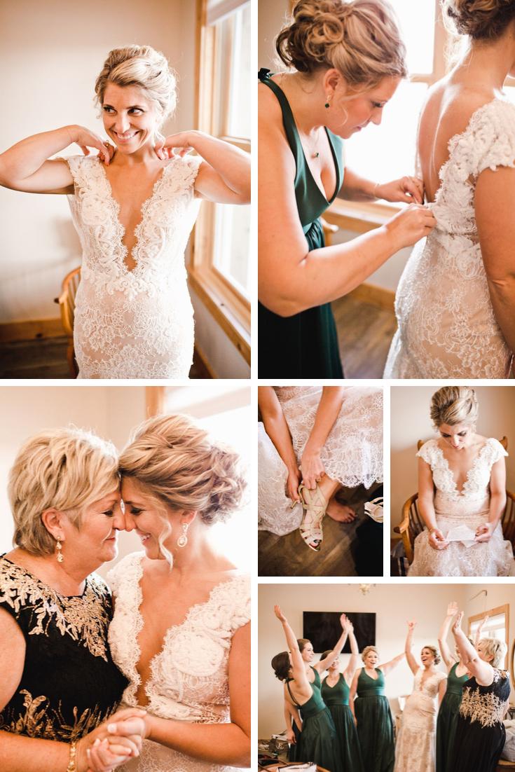 Bride getting ready Wisconsin Dells Wedding