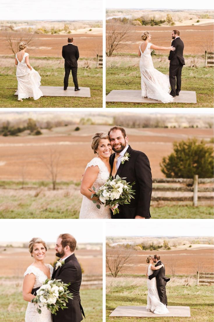 First look Wisconsin Dells Wedding