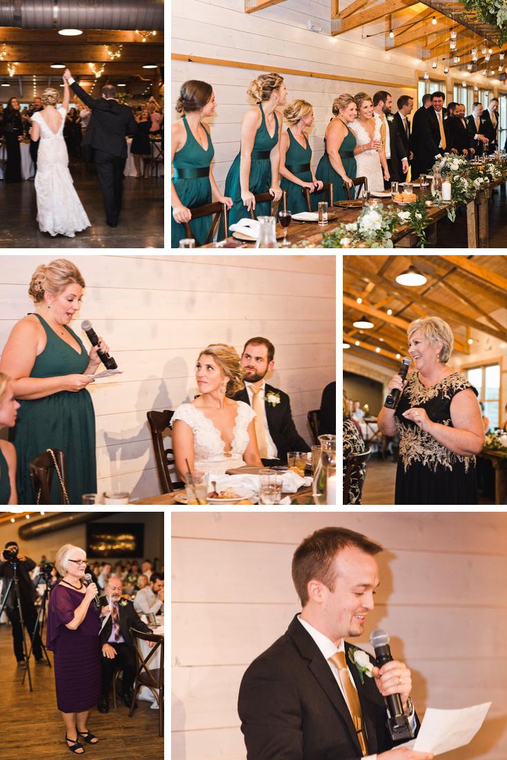Reception speeches Wisconsin Dells Wedding