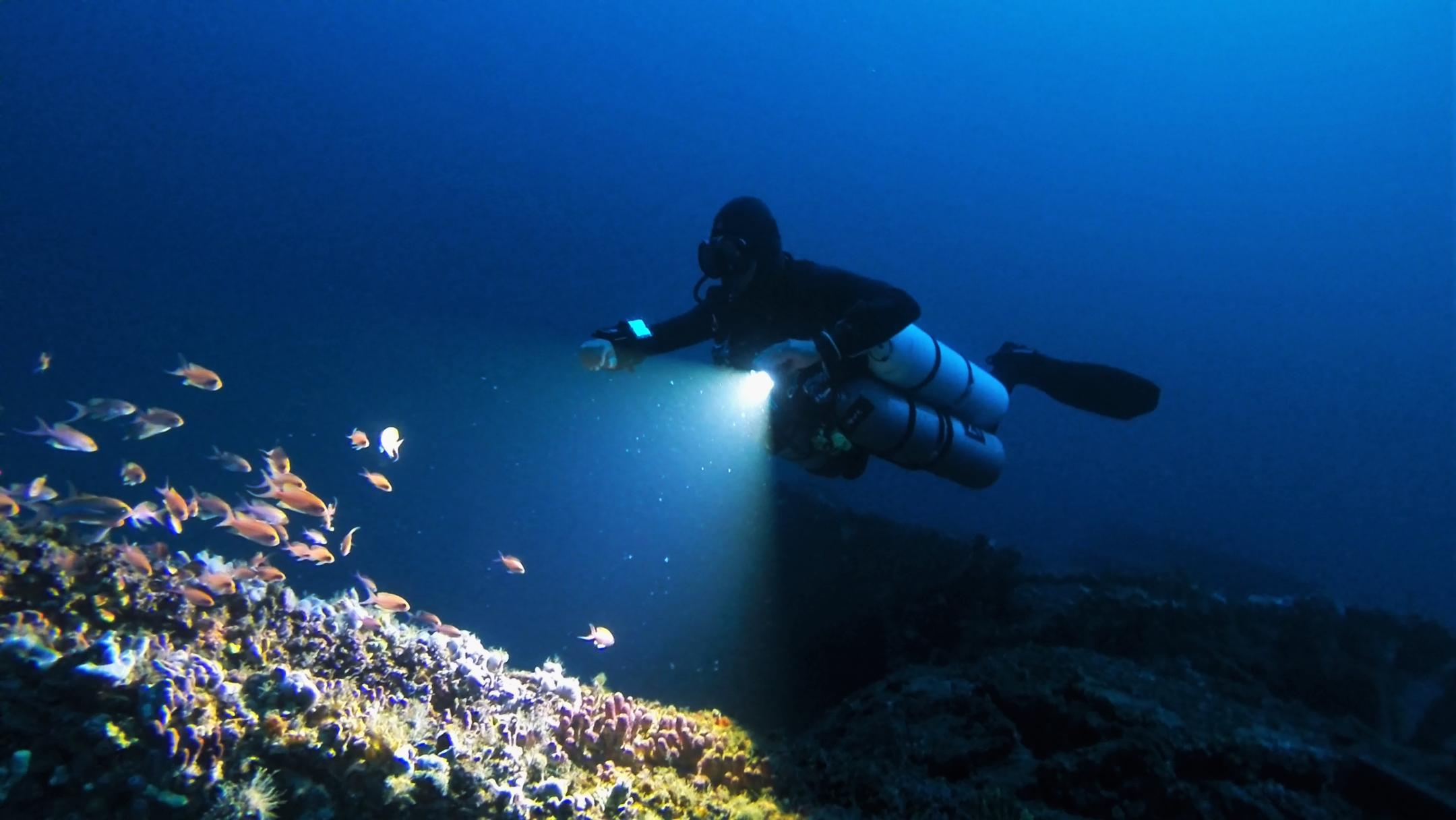 65m Trimix Sidemount Dive on HMS Southwold, Malta