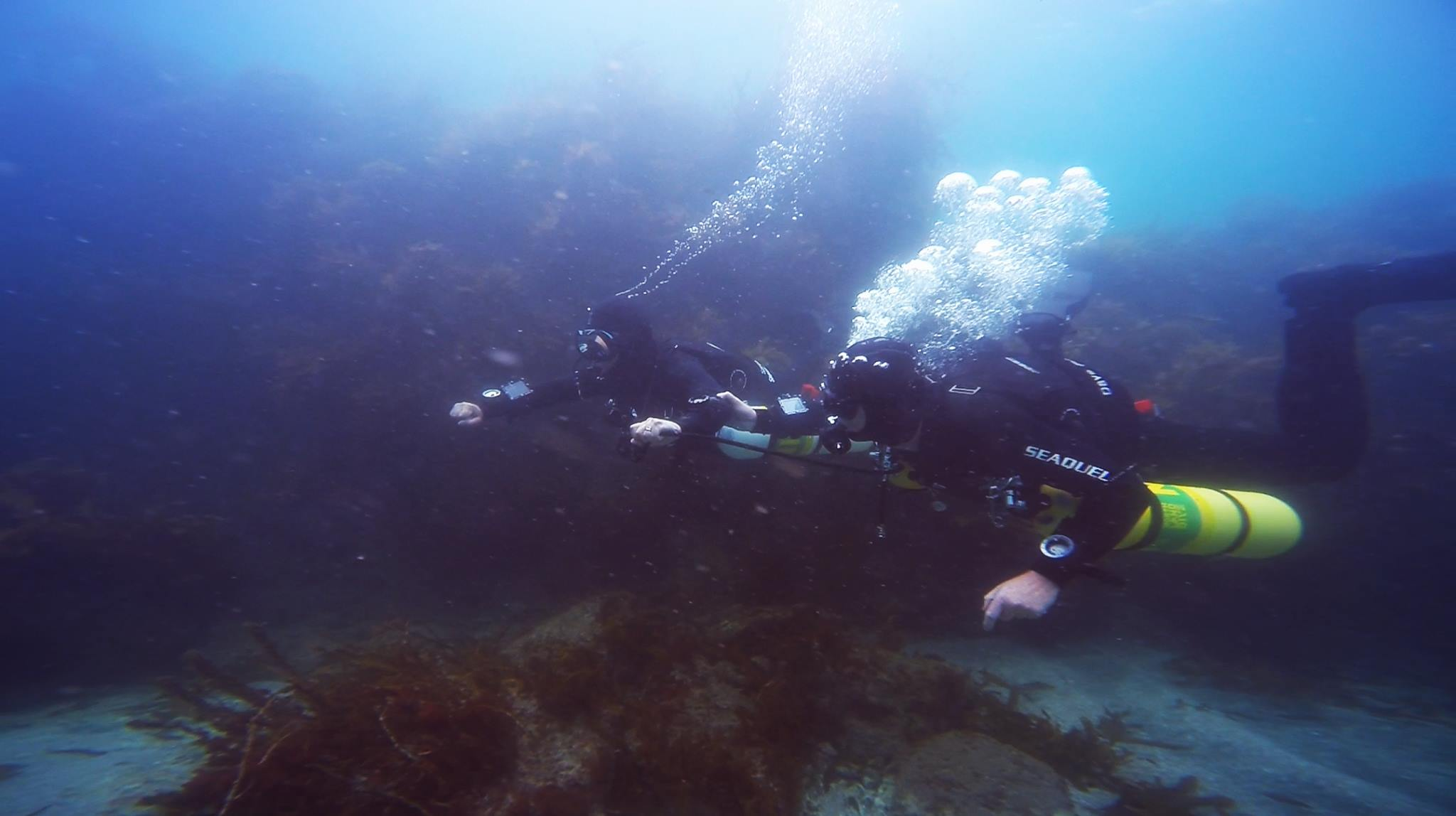 Sidemount Divers Performing an Out of Gas Drill