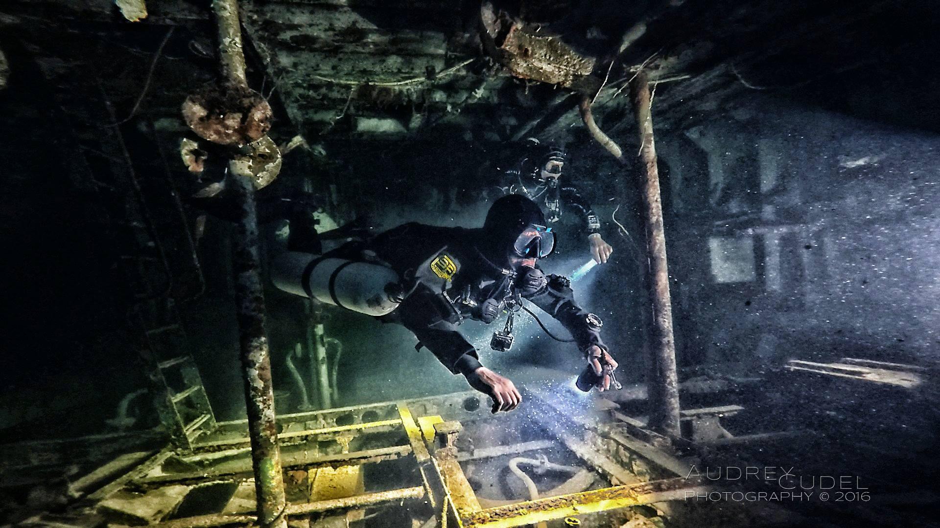 The Author diving the Karwela Wreck Gozo, Malta. Image credit  Audrey Cudel