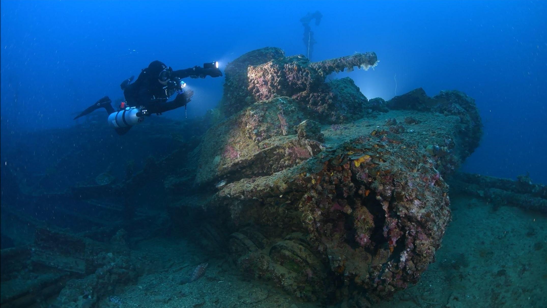 Tank on deck of San Francisco Maru, Truk Lagoon
