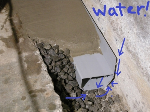 Not our basement, but this is exactly the type of drain that Ayers installed for us. Behind the little gap between the wall and the drain, there are holes drilled into the cinder block wall, that let water flow to the drain. Water from under the floor can seep up through the gravel to the drain as well.