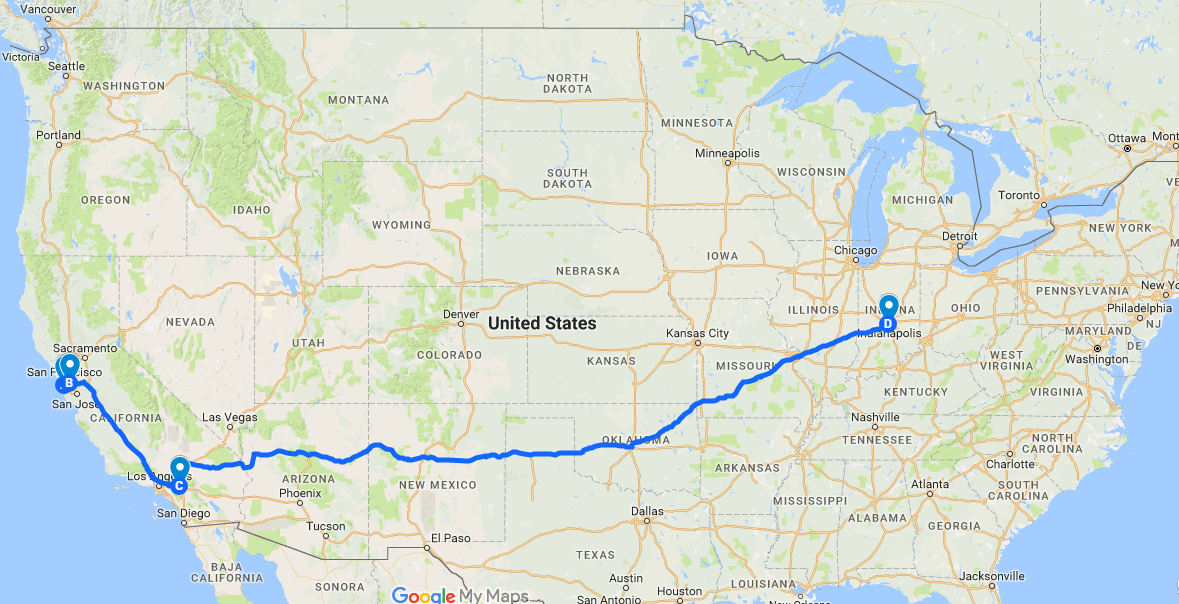 The Brites are somewhere between Los Angeles and Indianapolis! Go Brites, Go!
