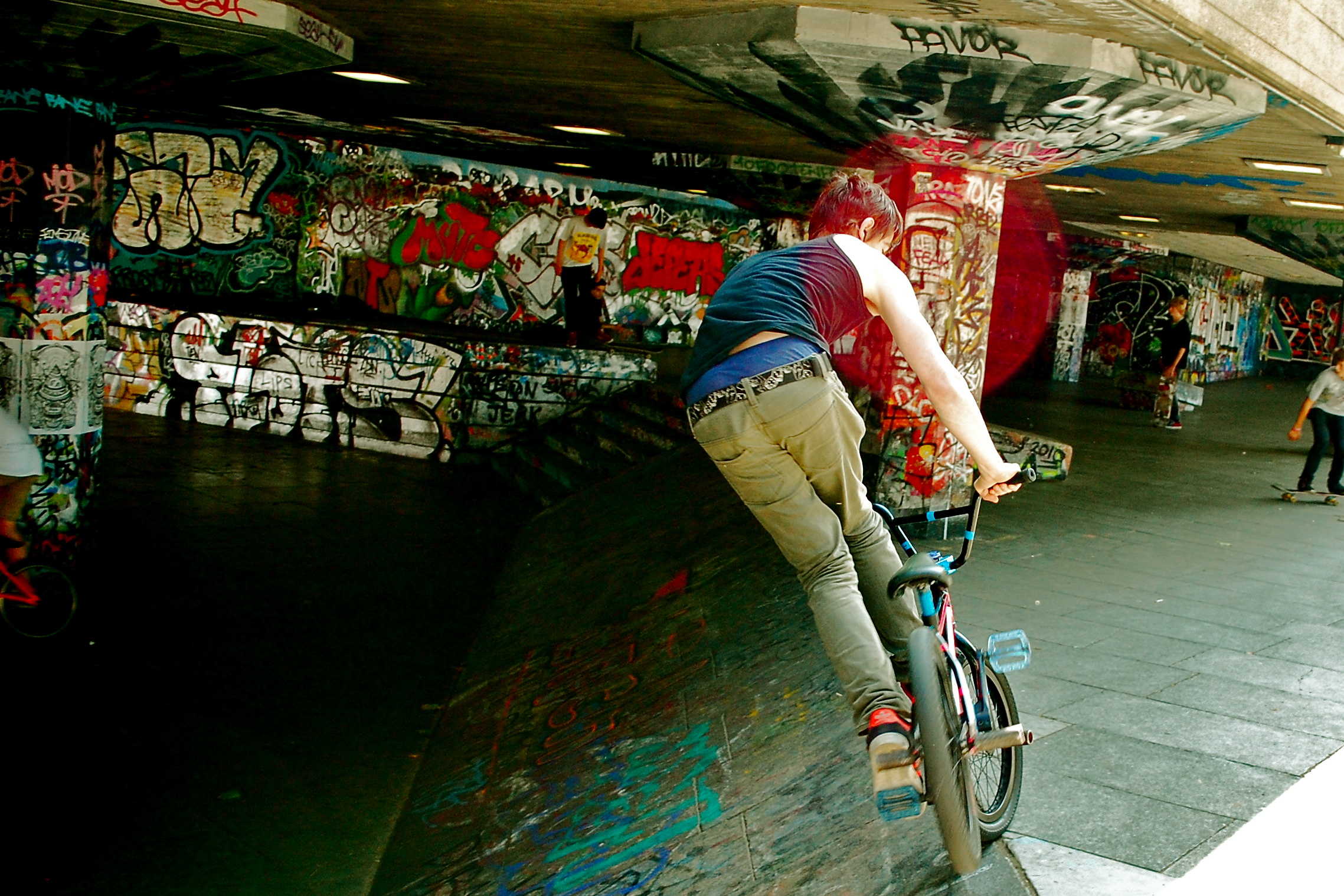 BMXers practice along the Thames Embankment in London.