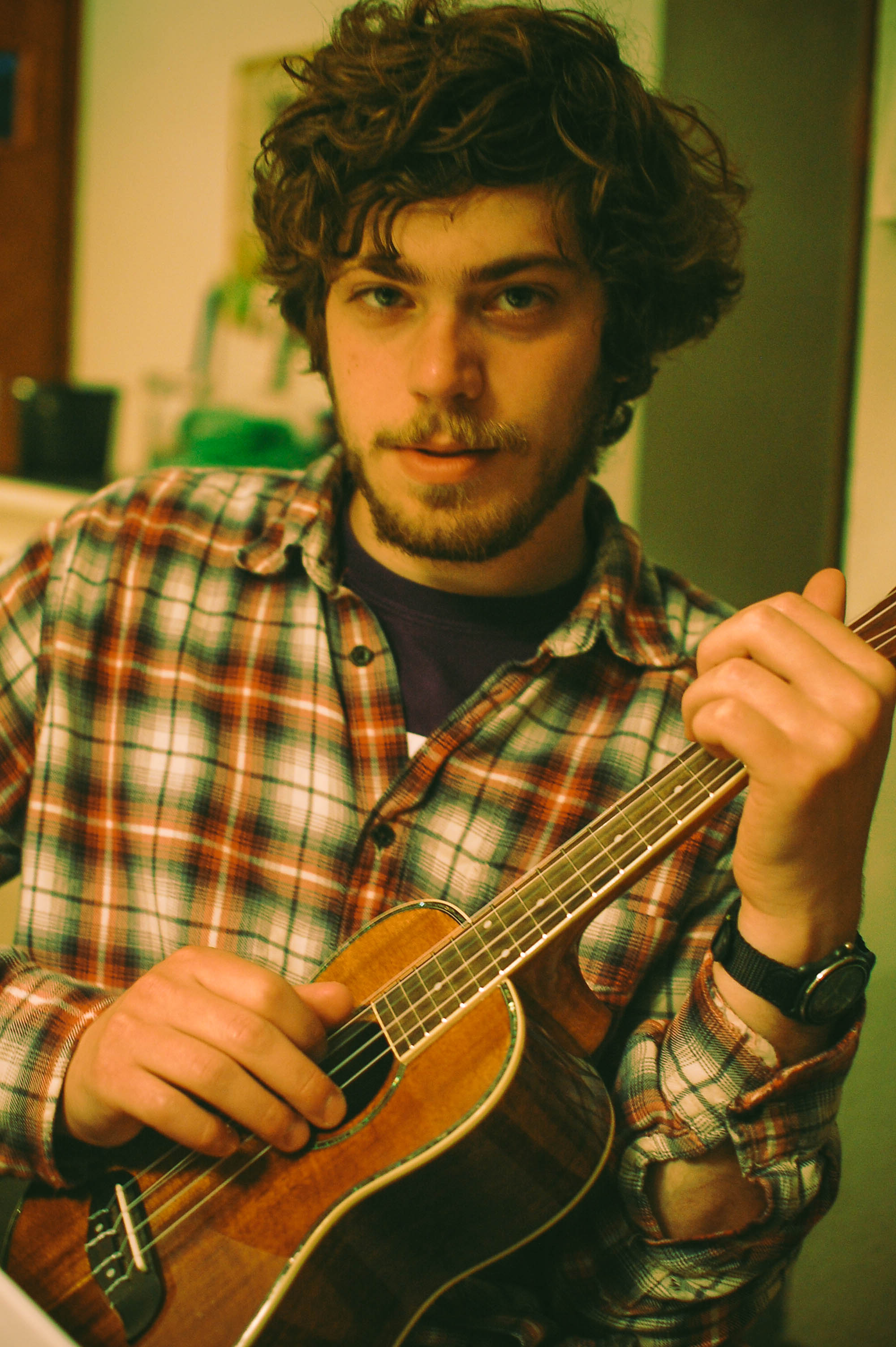 M. on ukulele late in the evening