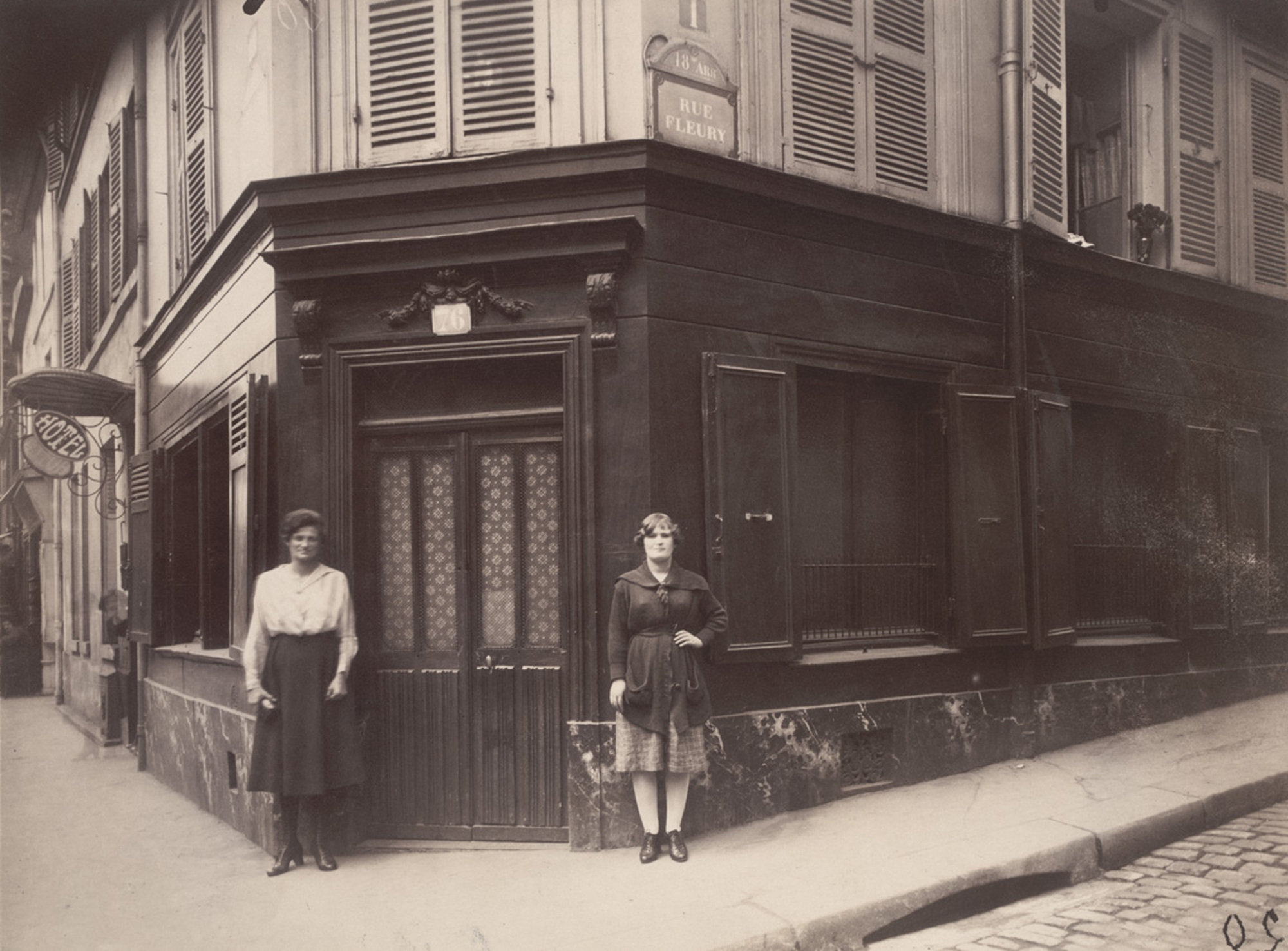 "Eugène Atget.  Coin, Boulevard de la Chapelle et Rue Fleury 76, 18e . June 1921. Matte albumen silver print, 6 13/16 x 9"" (17.3 x 22.9 cm). The Museum of Modern Art, New York. Abbott-Levy Collection. Partial gift of Shirley C. Burden"