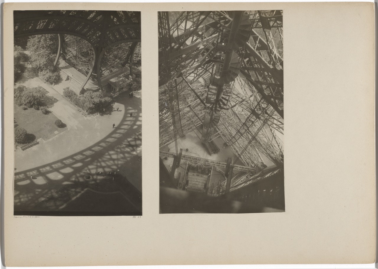 "Josef Albers.  Eiffel Tower, Paris. 1929/1932 . Gelatin silver prints mounted to board, overall 11 5/8 × 16 3/8"" (29.5 × 41.6 cm). The Museum of Modern Art, New York. Acquired through the generosity of Jo Carole and Ronald S. Lauder, and Jon L. Stryker. © 2017 The Josef and Anni Albers Foundation / Artists Rights Society (ARS), New York"