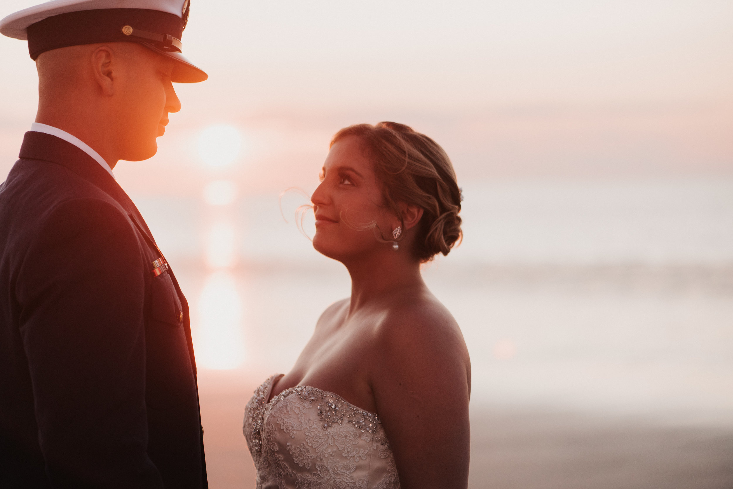 Wedding Portrait on Cape Cod Beach with Bride in dress and Groom in Navy Uniform