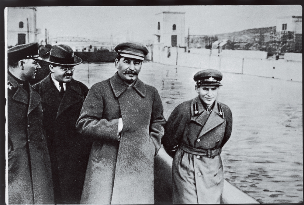 Yezhov walking with Stalin
