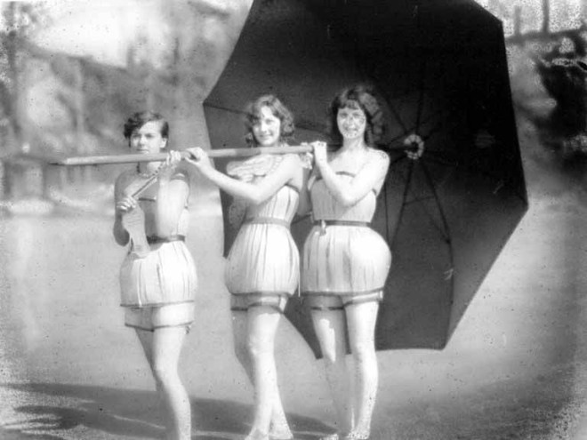The 'Spruce Girls' modelling the spruce wood veneer bathing suits