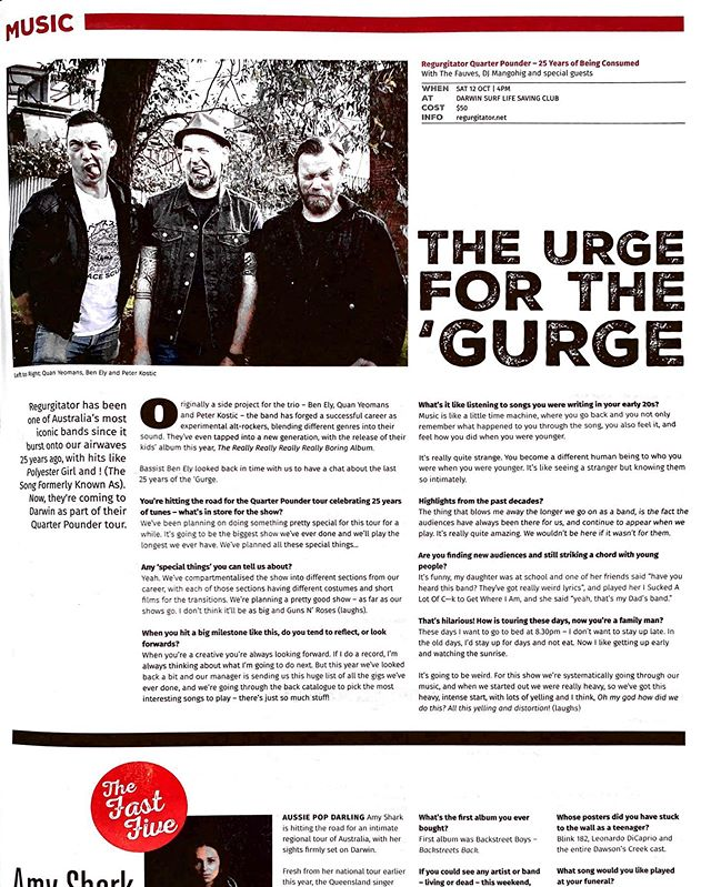 """""""My daughter was at school and one of her friends said 'Have you heard this band? They've got really weird lyrics' and played her I Sucked A Lot Of C—k To Get Where I Am, and she said 'yeah, that's my Dad's band' - Ben Ely @regurgitators • Thanks @offtheleashmagazine for the champion article ➡️ Gurge 12 Oct #DarwinNT • Tix link in bio"""