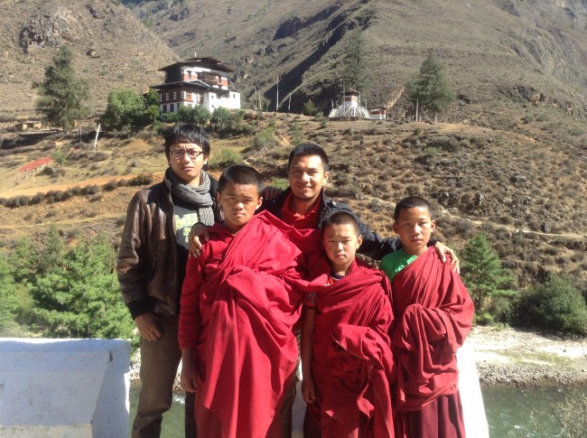 Ophan and Azhary with Bhutan kids